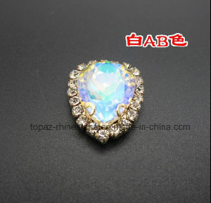 Crystal Ab Rhinestone in Sew on Setting for Shoes Bags (SW-drop 10*14) pictures & photos