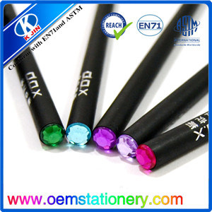 7 Inch Customized Black Wooden Pencil with Diamond