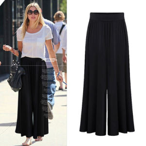 Latest Design Women Wide Leg Pants Fashion Royal Blue Palazzo Trousers for Lady pictures & photos