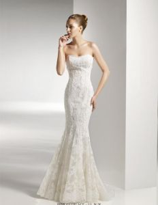 Brand Name Elegant Floor Length High Collar Lace Top See Through Mermaid Wedding Dress China (MN1052)