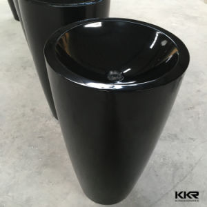 Artistic Black Stone Marble Bathroom Pedestal Basin for Hotel (B1706207) pictures & photos
