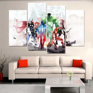 HD Printed The Avengers Watercolor Painting Painting on Canvas Decoration Print Poster Picture Canvas Framed Mc-095 pictures & photos