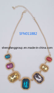 Fashion Jewelry Square Stone with Alloy Necklace Fashion Jewelry (SFN0118B)