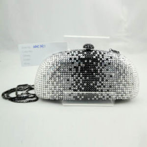 Crystal Evening Bag (WHC391-2BLACK+SILVER)