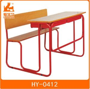 Student Wooden Table with Attached Chair for School Classrooms pictures & photos