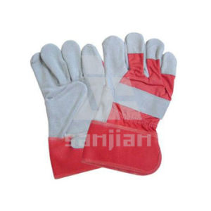 "10.5"" Low Price Cow Split Leather Working Glove pictures & photos"