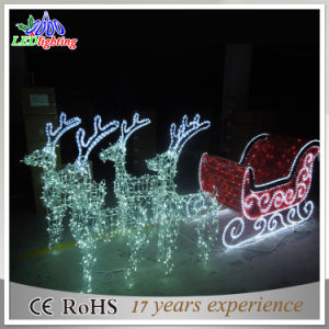 China outdoor 3d led reindeer with sleigh christmas for Lumiere noel exterieur