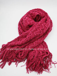 100% Acrylic Fashion Red Hollowed Warp Knitted Scarf with Fringe and Sequins pictures & photos