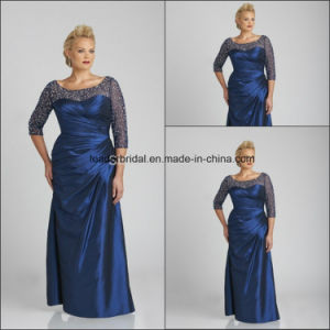 Hand Beads Mother of The Bride Dresses Plus Size 3/4 Sleeves Blue Taffeta Evening Dresses J329 pictures & photos