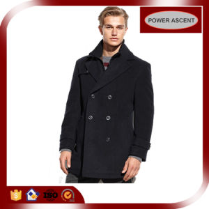 London-Fashion Men′s Wool-Blended Double-Breasted Peacoat pictures & photos