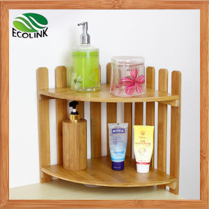 Two-Tier Bamboo Bathroom Corner Rack pictures & photos