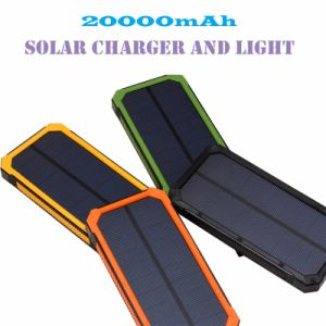 New 20000mAh Waterproof Solar Charger 2 LED Llight 2 Ports Power Bank Portable Powerbank Charger