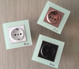 EU 4 Color Thoughened Glass Schuko Socket Wall Switch pictures & photos