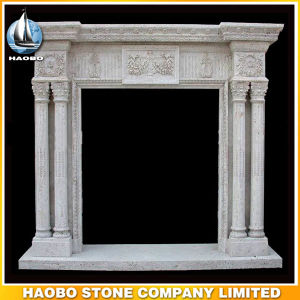 Quality Hand Carved Antique Design Fireplace Mantel with Carvings Travertine pictures & photos