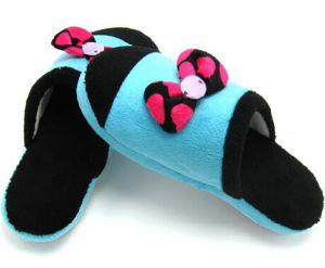 Newest Bowknot Blue Winter Warm Indoor Slippers pictures & photos