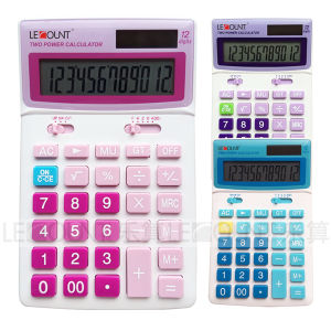 12 Digits Dual Power Desktop Calculator with Adjustable LCD Screen (LC227)