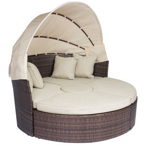 Rattan Outdoor Daybeds with Canopy Sand Cushions pictures & photos