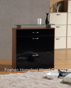 Modern 3 Drawers High Gloss Shoe Cabinet with Glass Top pictures & photos
