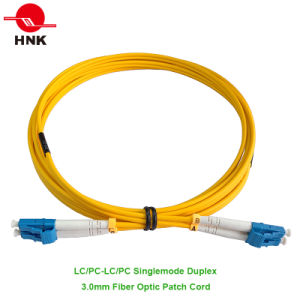 LC/PC to LC/PC Duplex Singlemode 3.0mm Fiber Optic Patch Cable pictures & photos