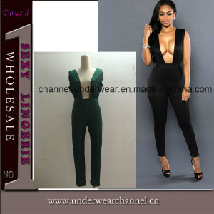 Sexy Deep V-Neck Pants Jumpsuit (TBLSN66133) pictures & photos