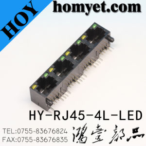 Professional Manufacturer 4 Module RJ45 Female Connector with LED (HY-RJ45-4L-LED) pictures & photos