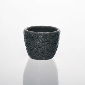 Grey Round Ceramic Vase W/ Beautiful Flower Patterns pictures & photos