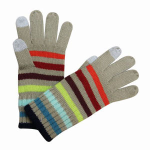 Lady Fashion Striped Knitted Touch Screen Winter Gloves (YKY5428) pictures & photos