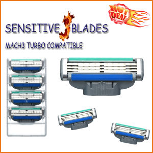 Compatible with Gillette Mach3 Turbo Shaving Razor Blade (4PCS/lot) pictures & photos