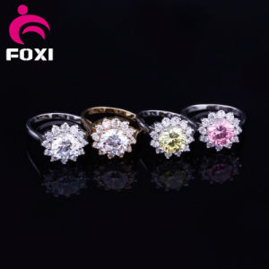 Flower Design Fashion Gold Plated CZ Rings for Girls Party pictures & photos