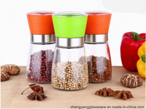 Glass Hand Grinder Pepper Mill with Metal Lid for Kitchenware pictures & photos