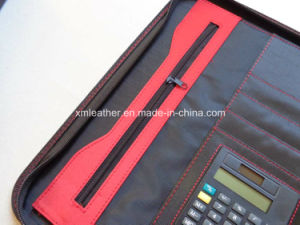 A4 Zippered Womens Leather Compendium with Calculator pictures & photos