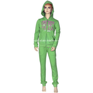 Girl Zipper up Fleece Jogging Suits with Hoody pictures & photos