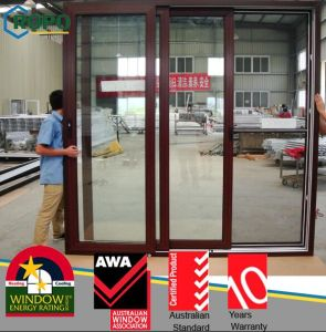 Wooden Color Australian Standard As2047 UPVC Glass Sliding Doors Price pictures & photos