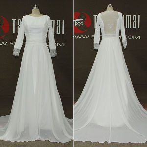 Real Photos Lace Chiffon Long Sleeve Women A-Line Wedding Dresses (TM-AL195)