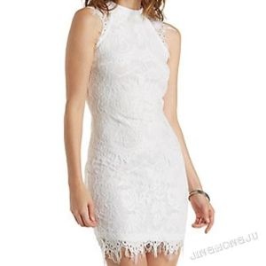 Ladies Knit Lace, Bodycon, Placement Cut, Mock up Neck Sleeveless 2 Layers, Fringle Hem Slim Evening Party Dress