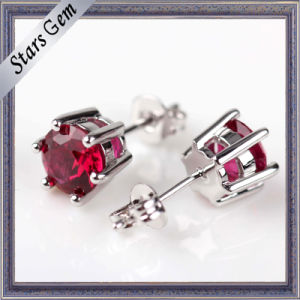 6mm Round Brilliant Cut Lab-Created Ruby Stud Earrings Jewelry pictures & photos
