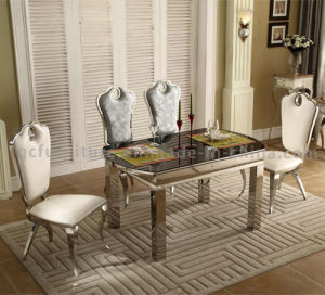 Modern Dining Room Stone Top Stainless Steel Table Chair Sets pictures & photos
