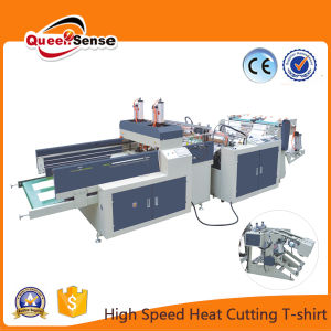 China Two Lines Heat Cutting High Speed T-Shirt Bag Making Machine pictures & photos