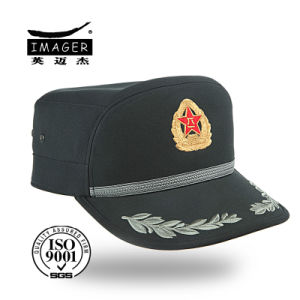Olive Green Police Cap with Metal Badge pictures & photos