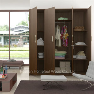Free Standing Wooden 4 Doors Bedroom Wardrobe Closet Furniture (HF-WS023) pictures & photos