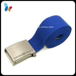 Solid Blue Polyester Webbing Belts with Square Adjustable Buckle pictures & photos
