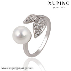 13755 Fashion Pretty CZ Round Pearl Leaf Silver-Plated Jewelry Finger Ring for Women pictures & photos