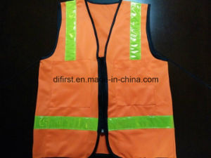 Safety Vest with Flu Yellow Crystal Tape 100%Polyester Knitting Fabric pictures & photos