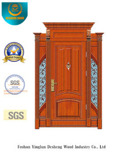 Classic Style Security Steel Door with Carving and Iron (B-9009) pictures & photos
