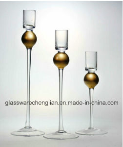 Glass Candle Holders with Gold Stem (ZT-095) pictures & photos