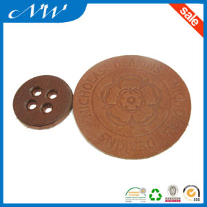 Brown Colored Oval Die Cut Unique Round Baby Garment Leather Patch pictures & photos
