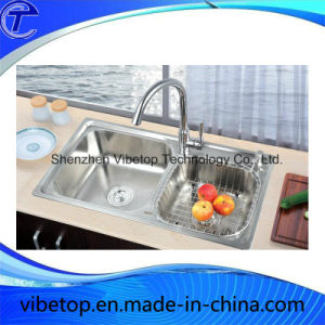 Double Bowl Stainless Steel Kitchen Wash Basin (KS-7540L) pictures & photos