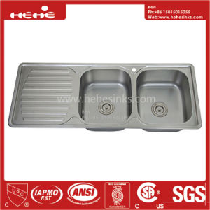 18-7/8X47-1/5 Stainless Steel Top Mount Equal Double Bowl Kitchen Sink with Drain Board pictures & photos