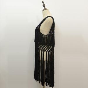 Lady′s Fashion Black Fringe Sleeveless Crochet Coverup pictures & photos