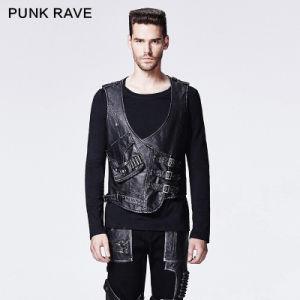 2015 Fancy New Design Punk Man Leather Vest (Y-598/BK-SI) pictures & photos